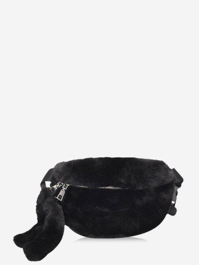 Faux Fur Solid Crossbody Bag - Black