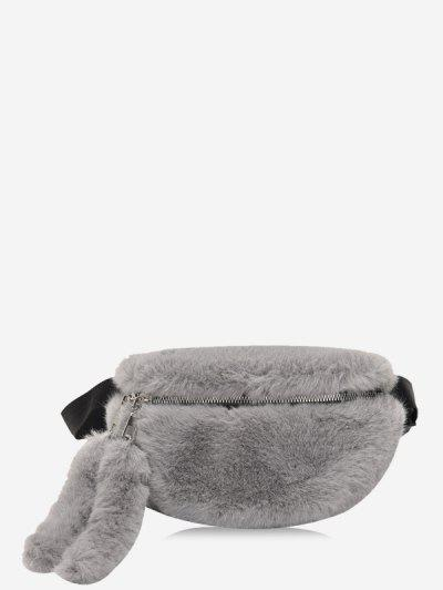 Faux Fur Solid Waist Chest Bag - Dark Gray