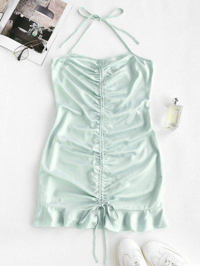 Halter Cinched Flounce Bodycon Dress - Light Green L