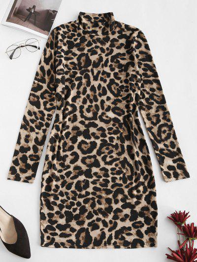 Leopard High Neck Bodycon Mini Dress - Coffee L