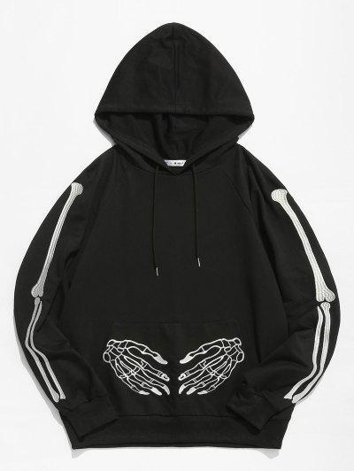 ZAFUL Halloween Skeleton Embroidered Front Pocket Hoodie - Black 2xl