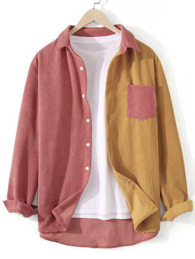 Corduroy Colorblock Pocket Shirt - Halloween Orange Xl