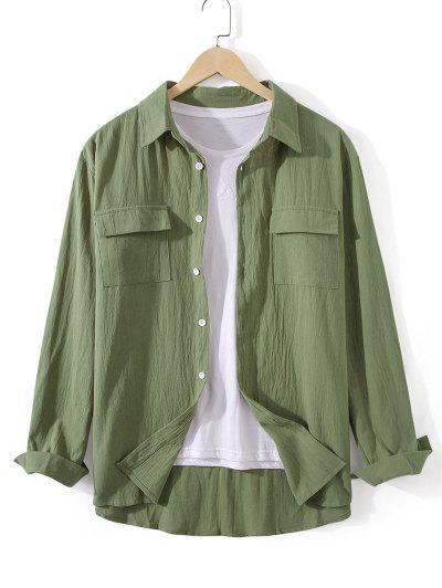 Pockets Button Up Casual Shirt - Fern Green Xl
