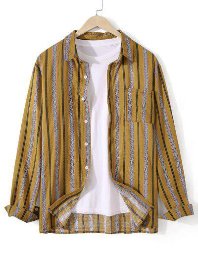 Striped Chest Pocket Button Up Tunic Shirt - Deep Yellow 2xl