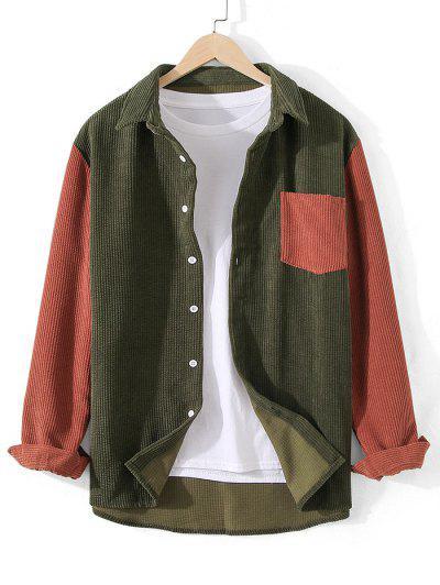 Corduroy Pocket Two Tone Shirt - Army Green 2xl