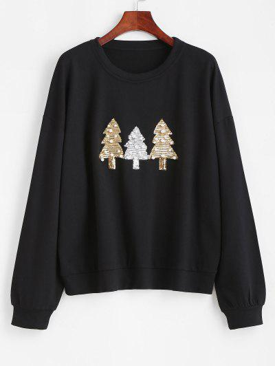 Beading Sequins Christmas Trees Sweatshirt - Black Xl