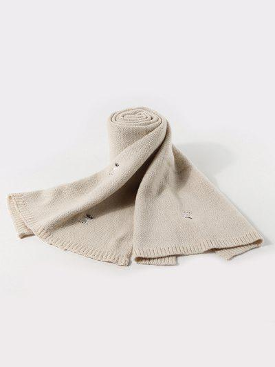 Embroidery Elk Pattern Knitted Scarf - Beige