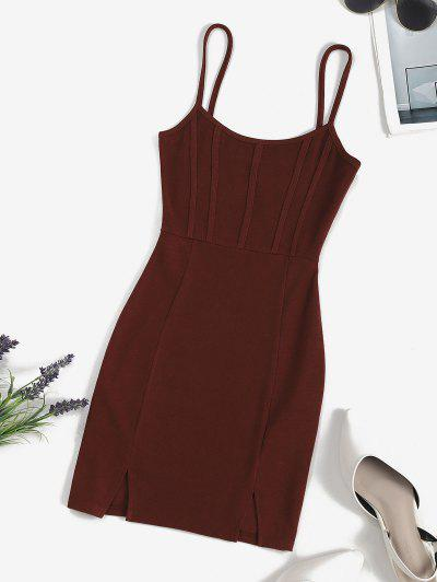 ZAFUL Front Slit Ribbed Mini Bodycon Dress - Deep Brown S