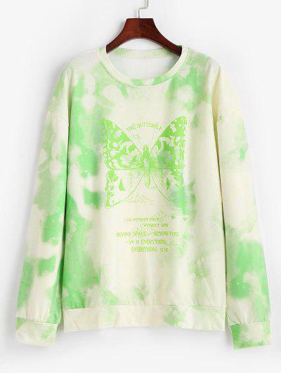 Tie Dye Butterfly Print Boyfriend Tunic Sweatshirt - Light Green S