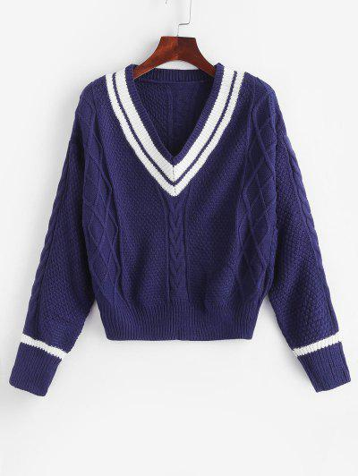 V Neck Stripes Panel Cable Knit Sweater - Deep Blue Xl