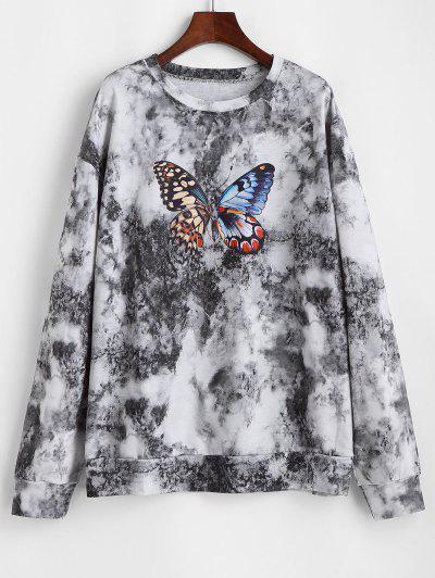 Tie Dye Butterfly Printed Drop Shoulder Sweatshirt - Black Xl