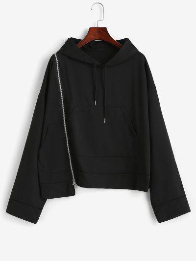 Drop Shoulder Zip Detail Pocket Hoodie - Black Xl