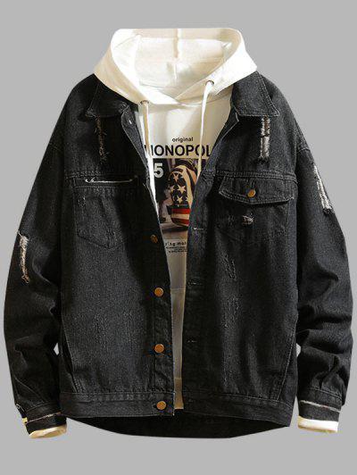 Ripped Frayed Patchwork Jean Jacket - Black 4xl