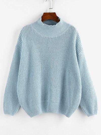 ZAFUL Mock Neck Drop Shoulder Oversized Sweater - Light Blue M