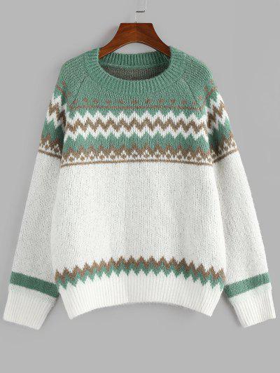 ZAFUL Zig Zag Raglan Sleeve Jumper Sweater - Green S