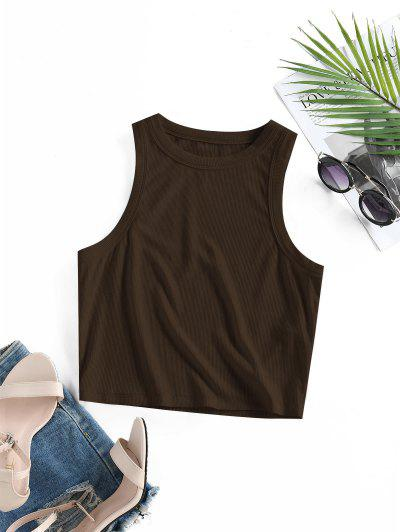 ZAFUL Ribbed Fitted Crop Tank Top - Coffee L