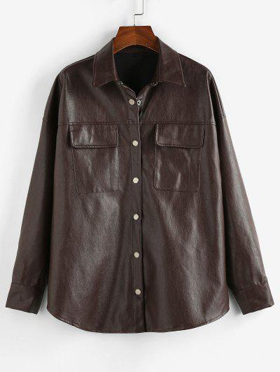 ZAFUL Button Up Faux Leather Shacket - Taupe L