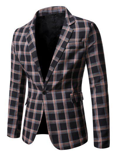 Windowpane Check Pattern Single Button Blazer - Black S