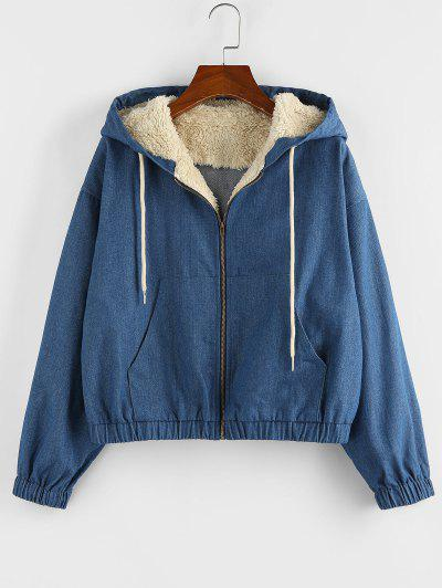 ZAFUL Faux Shearling Insert Hooded Drop Shoulder Denim Jacket - Denim Blue S