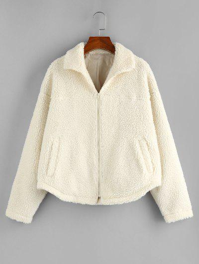 ZAFUL Faux Shearling Drop Shoulder Fluffy Teddy Coat - Beige L