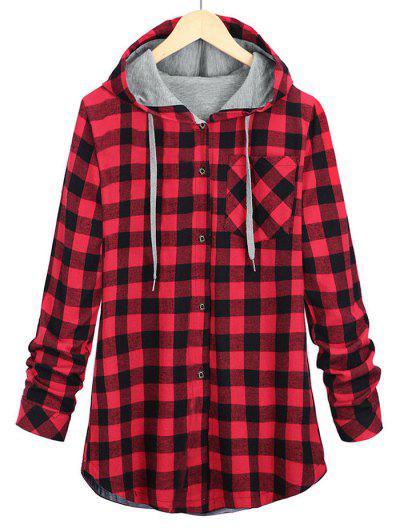 Plus Size Drawstring Plaid Shirt Jacket - Red 5xl