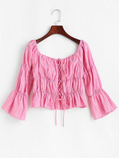 Lace Up Crinkle Peplum Blouse - Light Pink M