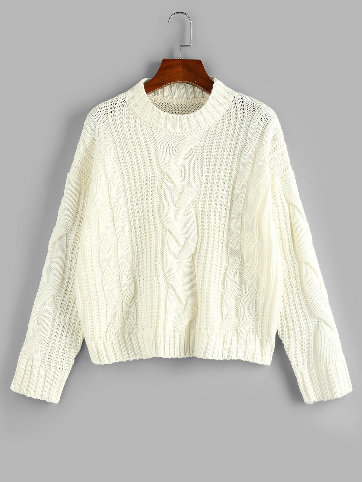 Zaful Cable Knit Drop Shoulder Sweater