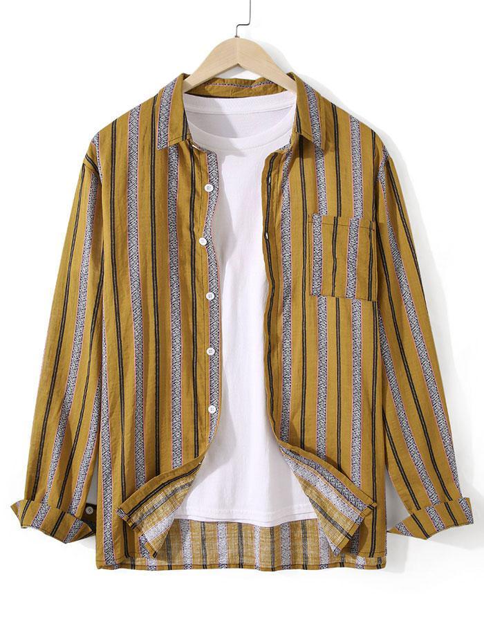 Chemise Tunique Boutonnée Rayée avec Poche Poitrine - ZAFUL - Modalova