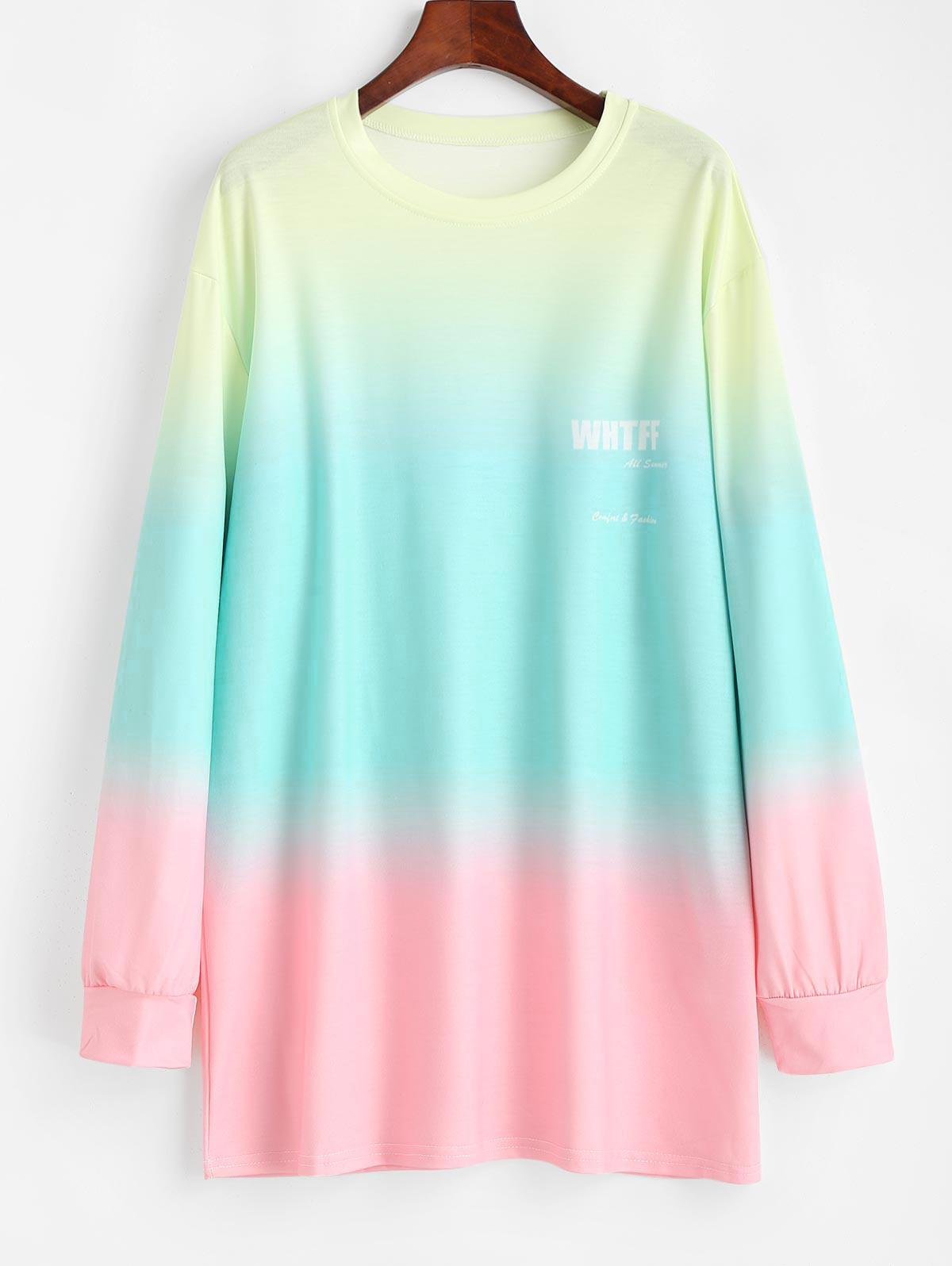 Sweat-shirt Tunique Teinté Ombré Surdimensionné M - Zaful FR - Modalova
