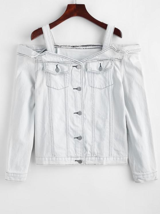 fancy Bleached Open Shoulder Denim Jacket - WATER XL