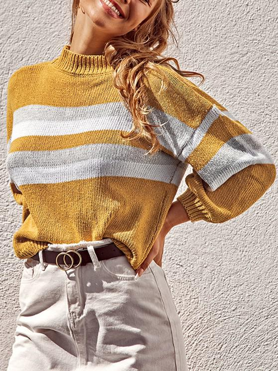 affordable Lantern Sleeve Stripes Pullover Sweater - YELLOW ONE SIZE