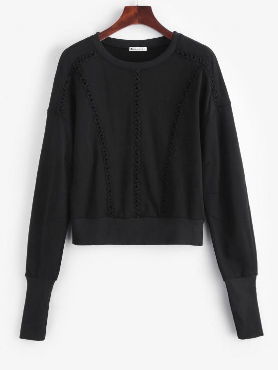 trendy Elongating Sleeve Crisscross Sweatshirt - BLACK S