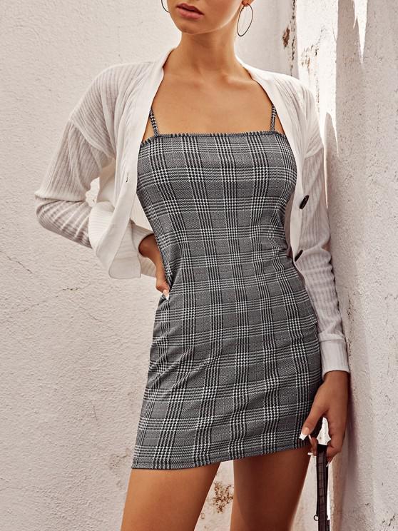 Vestidoa Cuadroscon Tirante Fino de Tela Escocesa ZAFUL - Negro XL
