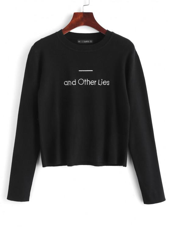 unique Embroidered Text Graphic Sweater - BLACK XL