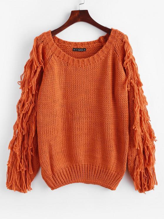 Pull Epais en Tricot à Frange - Orange Papaye Taille Unique