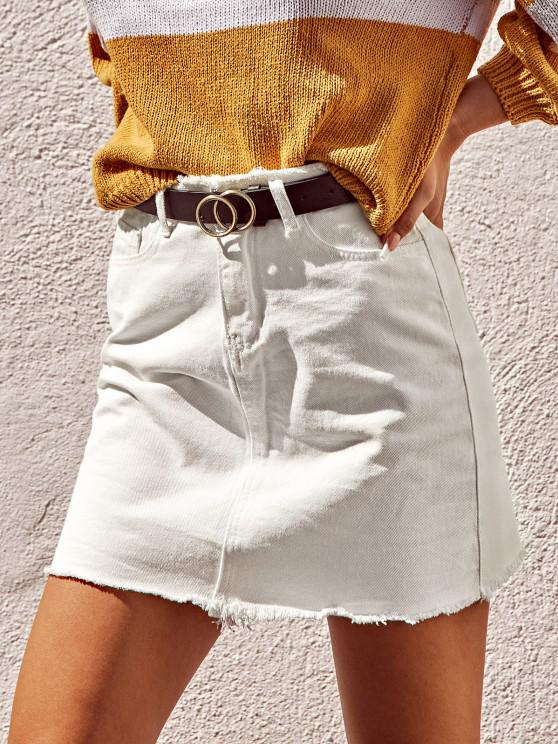 latest Frayed Pocket Mini Denim Skirt - WHITE M