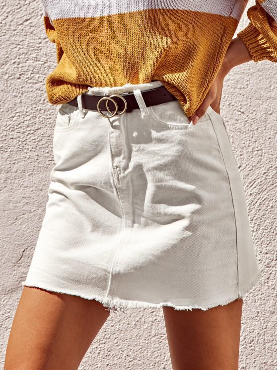 womens Frayed Pocket Mini Denim Skirt - WHITE L