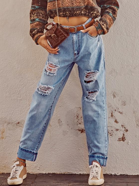 shop Grunge Light Wash Ripped Cuffed Boyfriend Jeans - BLUE S