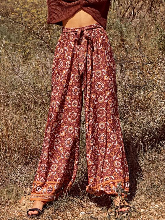 trendy Bohemian Printed Belted Wide Leg Pants - RED M