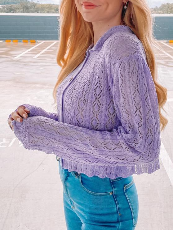 affordable Openwork Cable Knit Cropped Cardigan - LIGHT PURPLE ONE SIZE