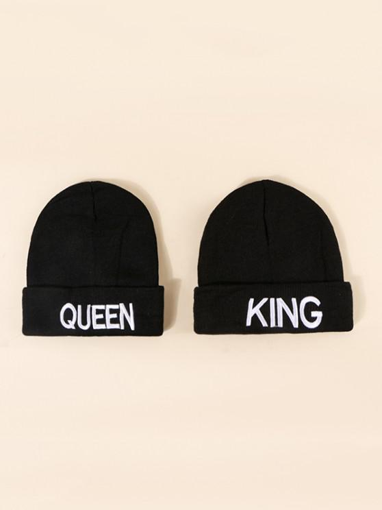 fancy 2Pcs Embroidery Couple Knitted Hat Set - BLACK