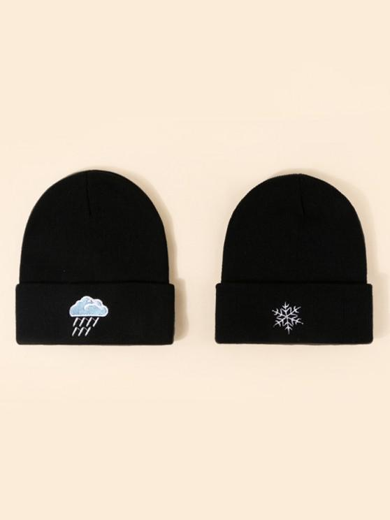 2Pcs Embroidery Weather Knitted Hat Set - أسود