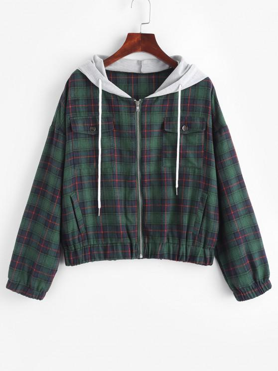Flannel Plaid Tartan Zip Up Combo Jacket - ديب غرين S