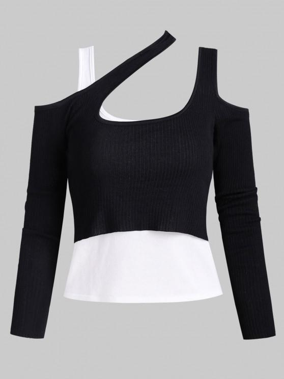 outfit Knitted Cold Shoulder Layered Ribbed Tee - BLACK ONE SIZE