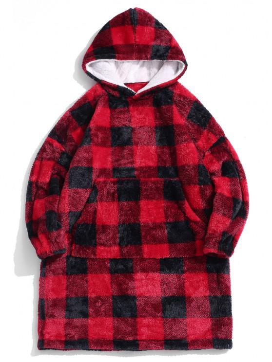 ZAFUL Plaid Pattern Fluffy Long Blanket Hoodie - أحمر L