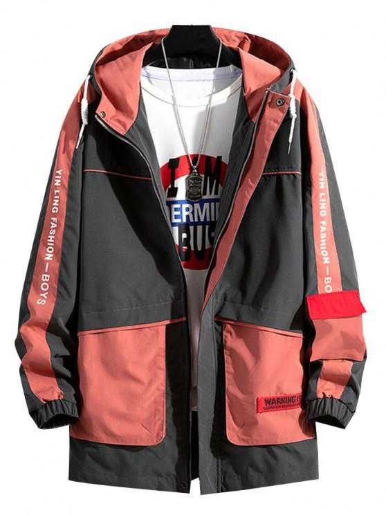 women's Colorblock Letter Pattern Hooded Jacket - LAVA RED S
