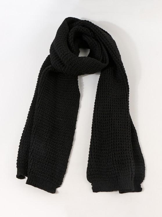 outfit Leather Panel Long Knitted Scarf - BLACK
