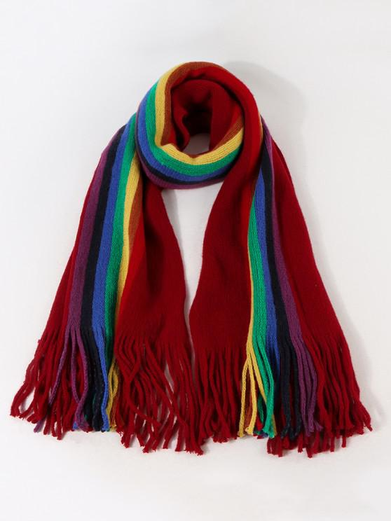 trendy Rainbow Color Stripe Knitted Fringe Scarf - RED WINE