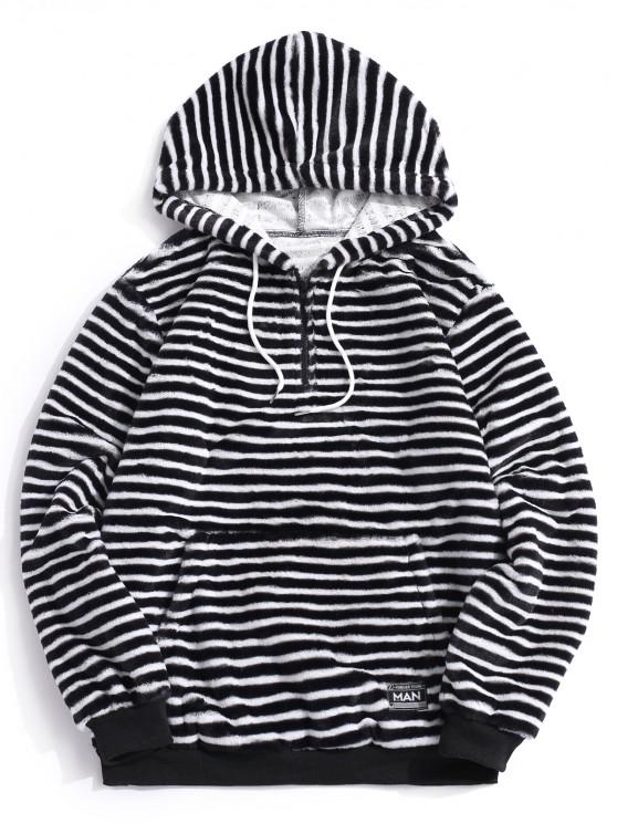 Quarter Zip Striped Faux Fur Fluffy Hoodie - أسود L