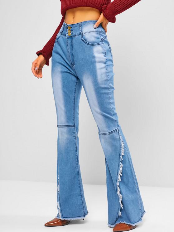 High Waisted Frayed Overlap Flare Jeans - أزرق M